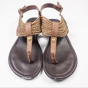 Curfew Faux Leather Braided Sandals Brown/Gold